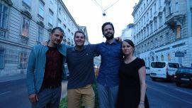 Nach der Lesung mit Jung Wien '14 in der Vinothek Miller-Aichholz (Juni 2017)